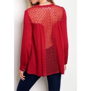 Tops - Red Lace Back Blouse